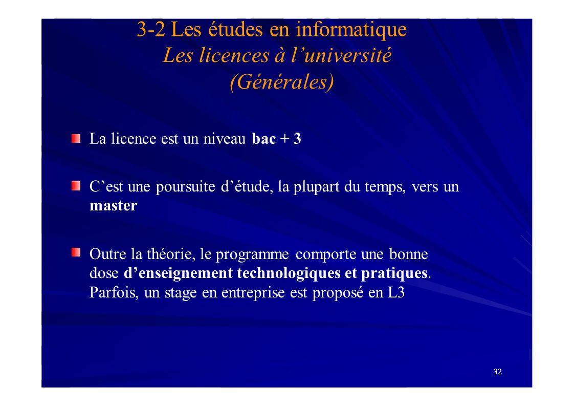 3-2 Les études en informatique Les licences à l'université (Générales)