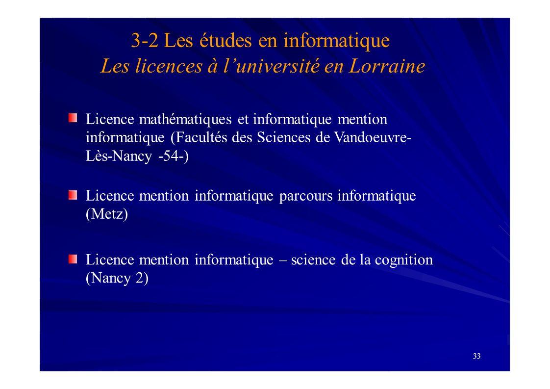 3-2 Les études en informatique Les licences à l'université en Lorraine