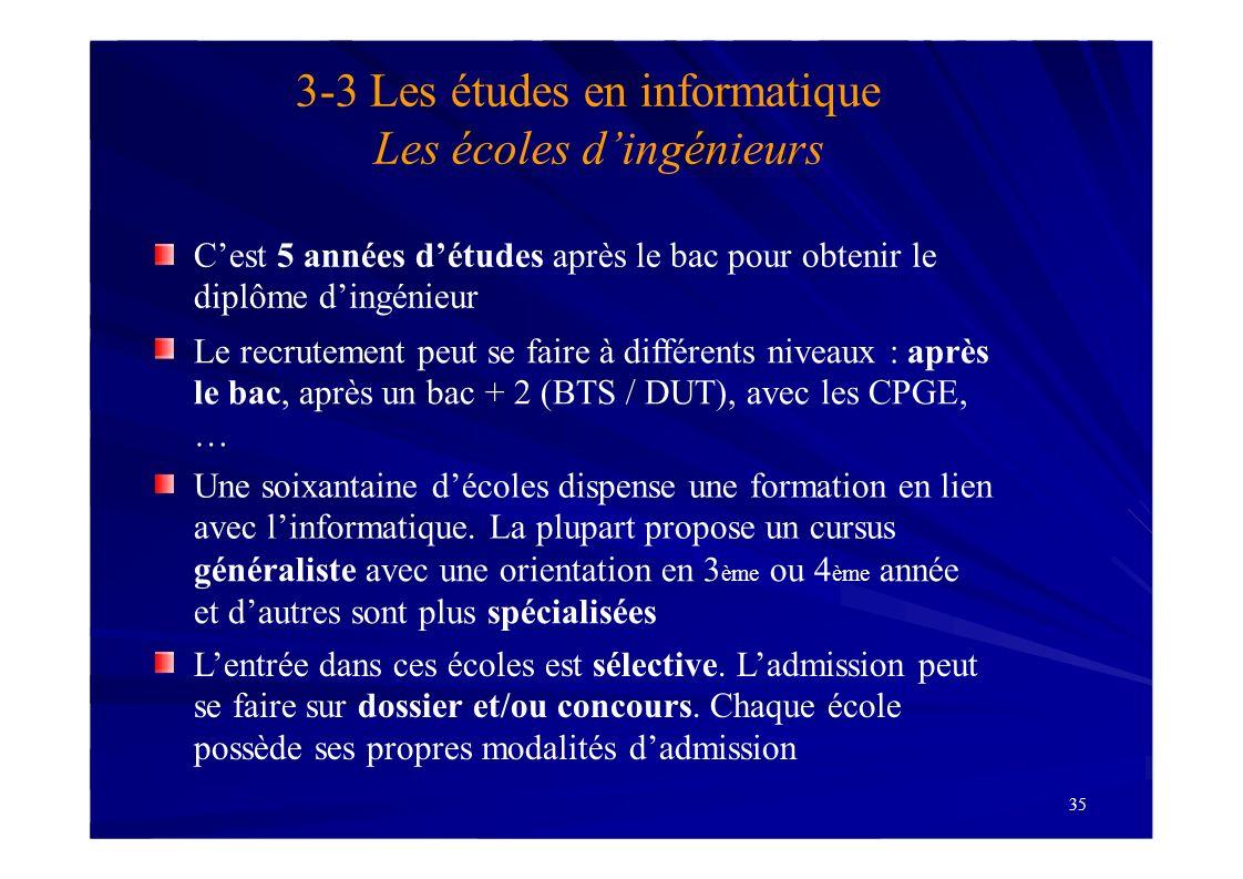 3-3 Les études en informatique Les écoles d'ingénieurs