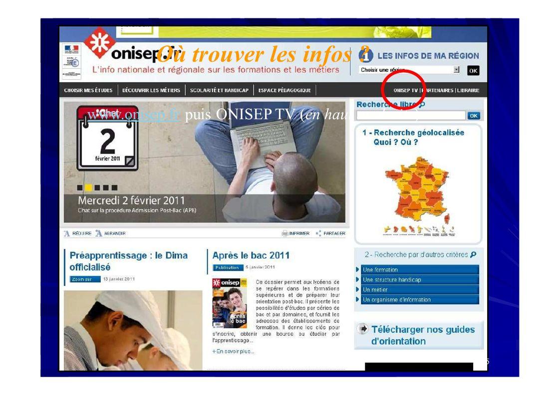 Où trouver les infos www.onisep.fr puis ONISEP TV (en haut au droite) 45