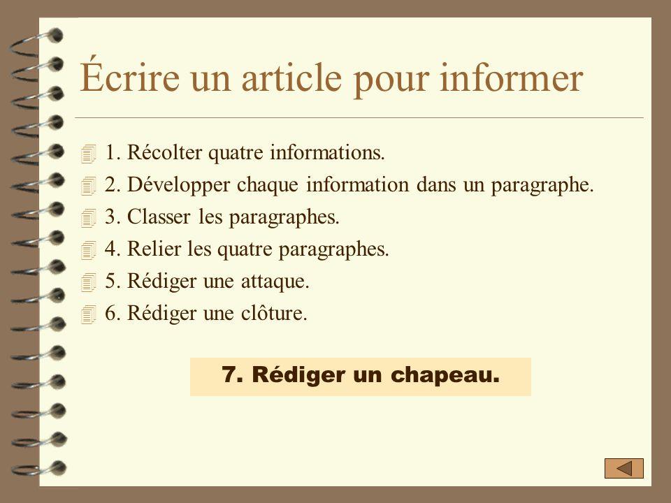Écrire un article pour informer
