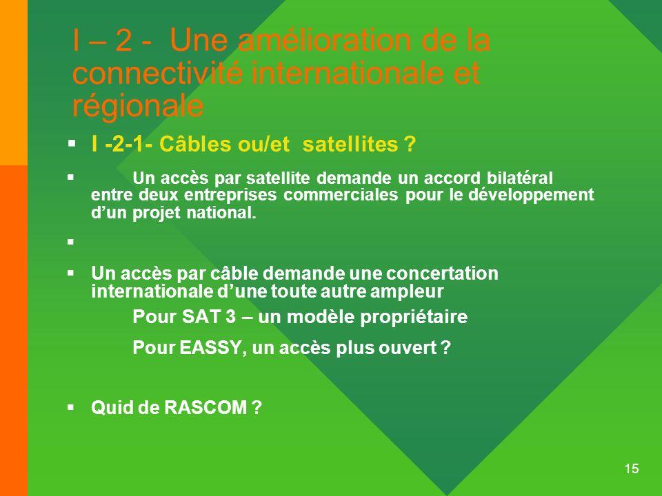 I – 2 - Une amélioration de la connectivité internationale et régionale