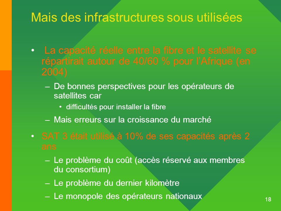 Mais des infrastructures sous utilisées