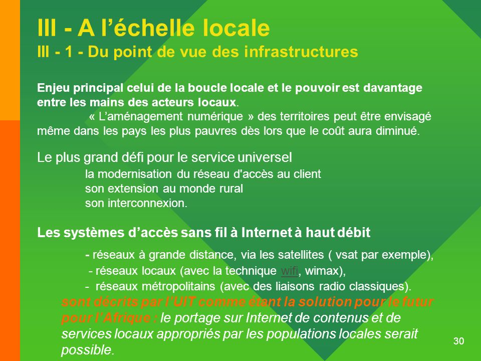 III - A l'échelle locale