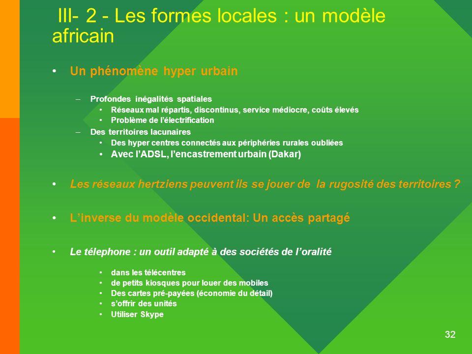 III- 2 - Les formes locales : un modèle africain