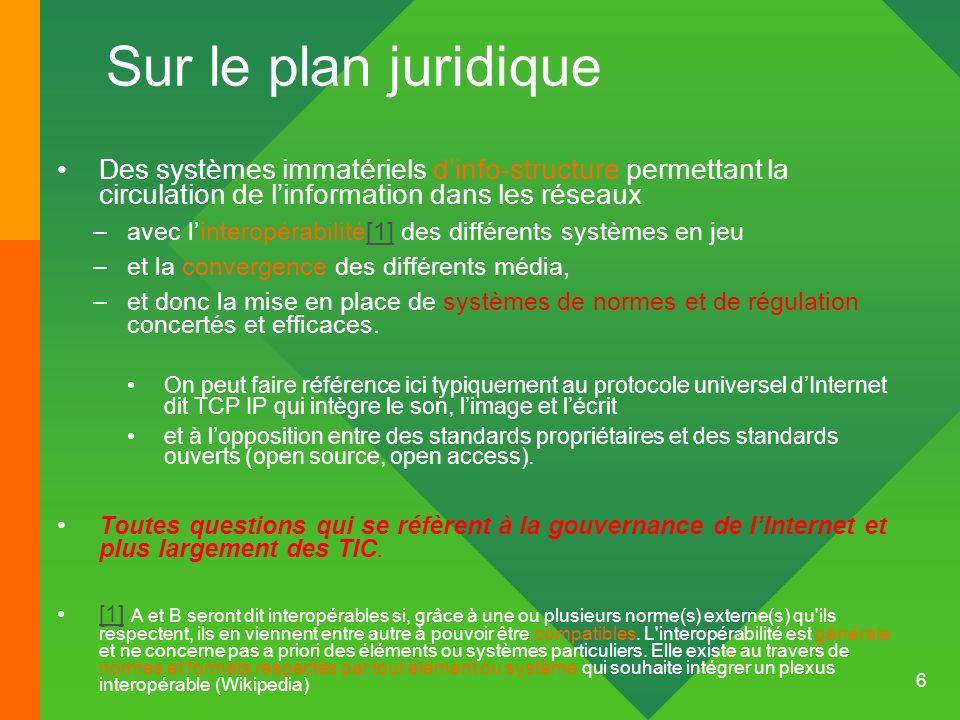 Sur le plan juridique Des systèmes immatériels d'info-structure permettant la circulation de l'information dans les réseaux.