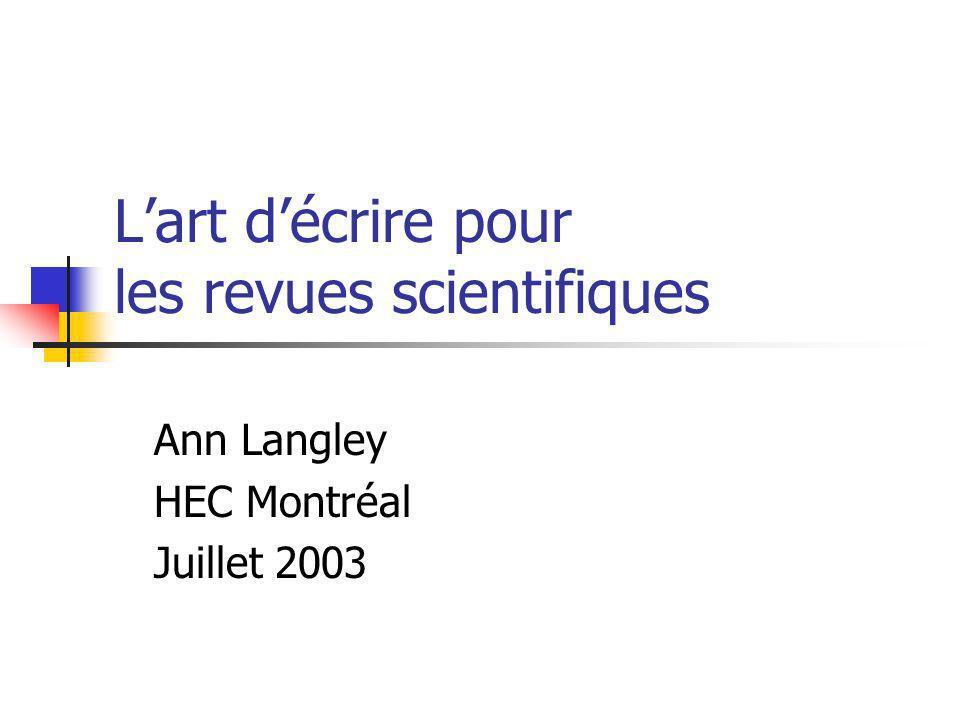L'art d'écrire pour les revues scientifiques