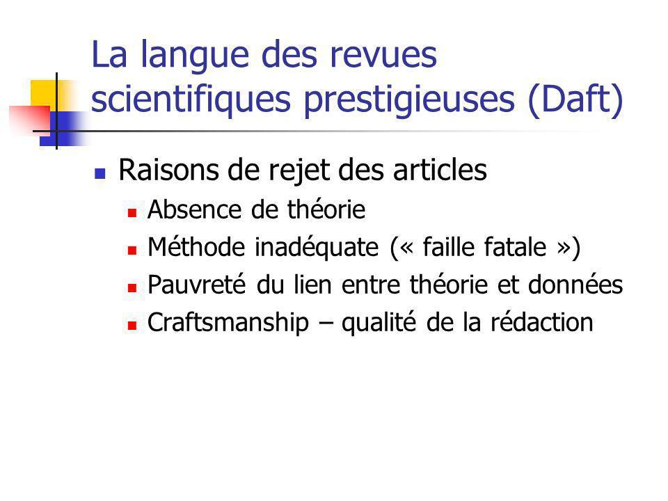 La langue des revues scientifiques prestigieuses (Daft)