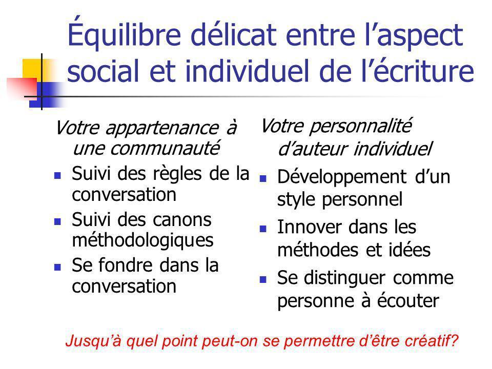 Équilibre délicat entre l'aspect social et individuel de l'écriture