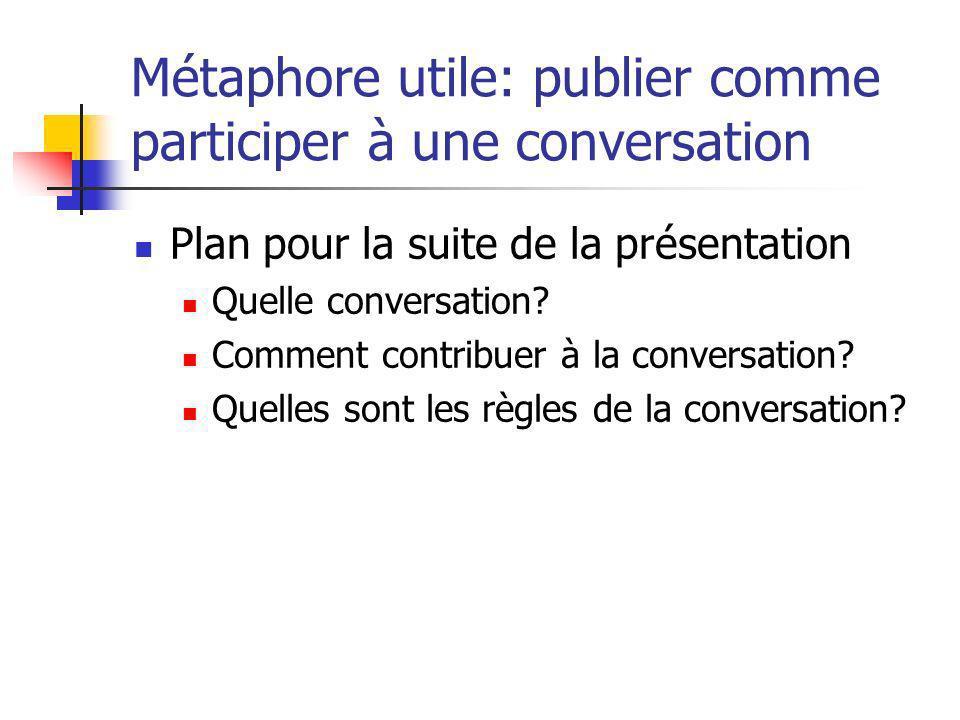 Métaphore utile: publier comme participer à une conversation