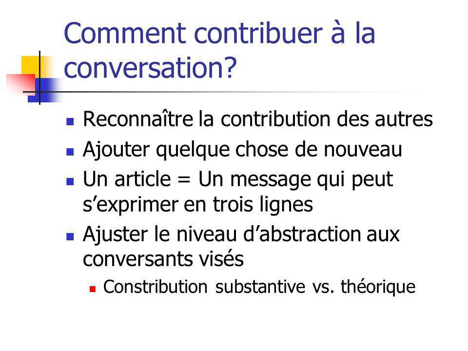 Comment contribuer à la conversation