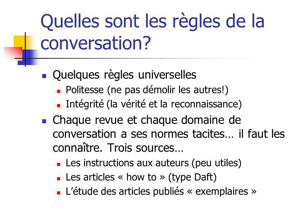 Quelles sont les règles de la conversation