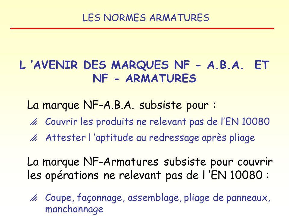 L 'AVENIR DES MARQUES NF - A.B.A. ET NF - ARMATURES