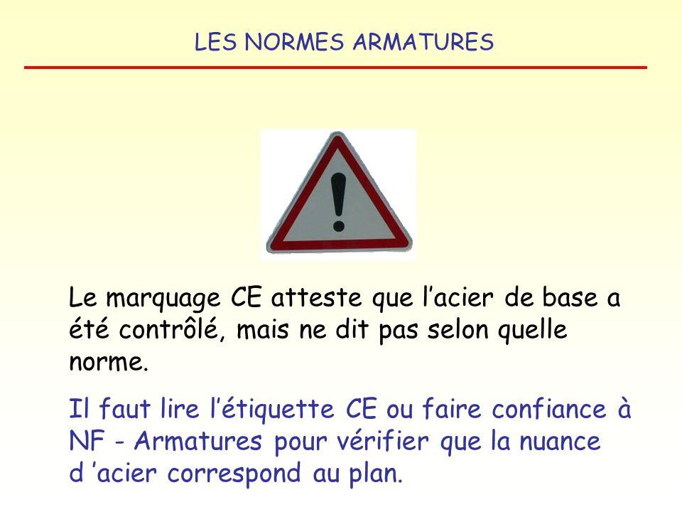 Le marquage CE atteste que l'acier de base a été contrôlé, mais ne dit pas selon quelle norme.