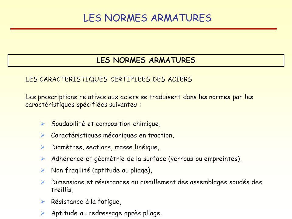 LES NORMES ARMATURES LES CARACTERISTIQUES CERTIFIEES DES ACIERS