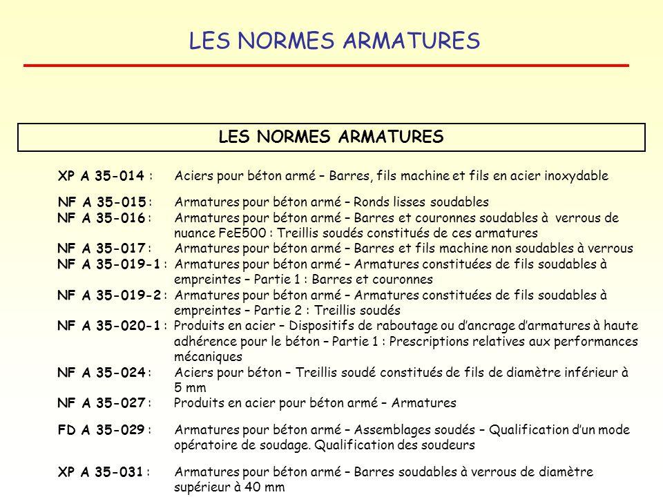 LES NORMES ARMATURES XP A 35-014 : Aciers pour béton armé – Barres, fils machine et fils en acier inoxydable.