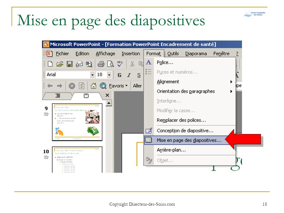Mise en page des diapositives
