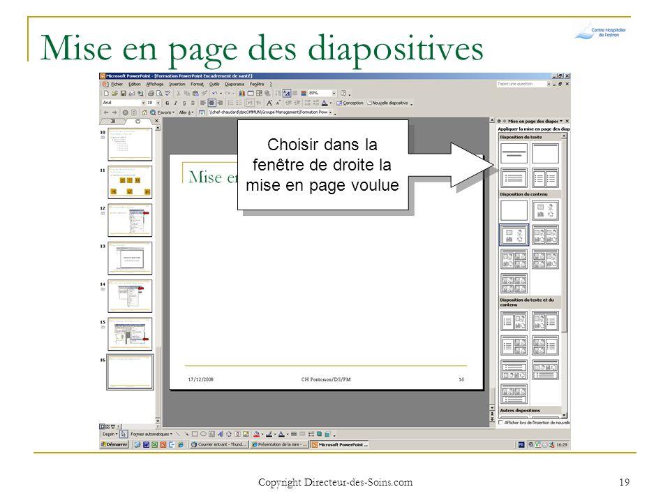 Mise en page des diapositives