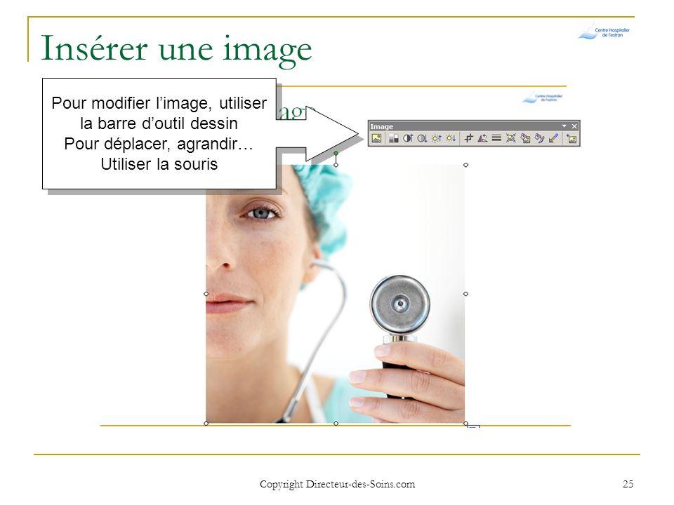 Insérer une image Pour modifier l'image, utiliser la barre d'outil dessin. Pour déplacer, agrandir… Utiliser la souris.