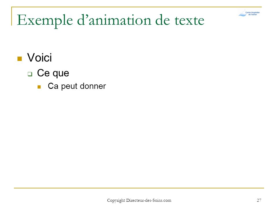 Exemple d'animation de texte