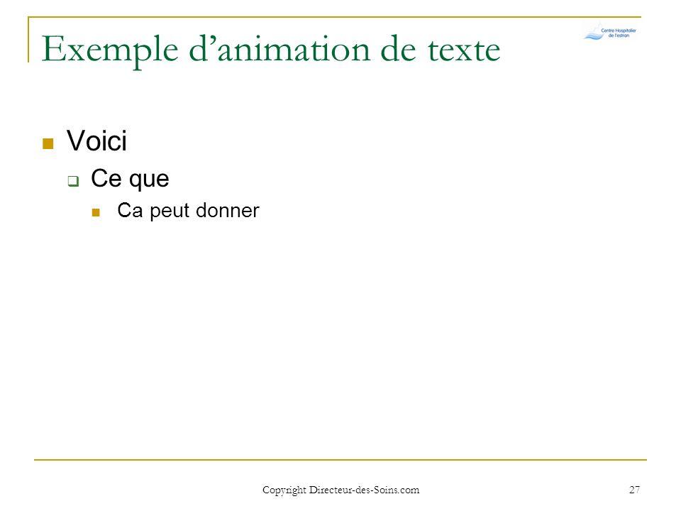Exemple d'animation de texte