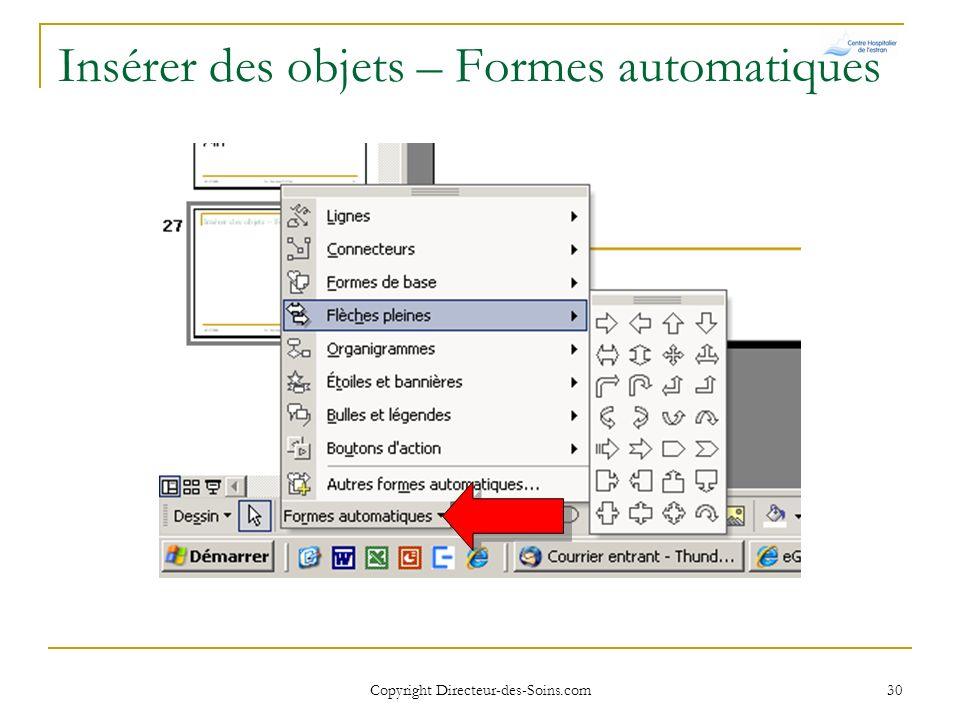 Insérer des objets – Formes automatiques