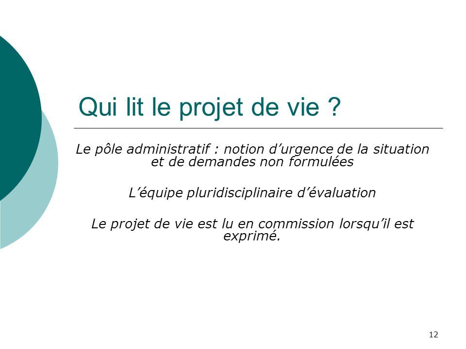 Qui lit le projet de vie Le pôle administratif : notion d'urgence de la situation et de demandes non formulées.