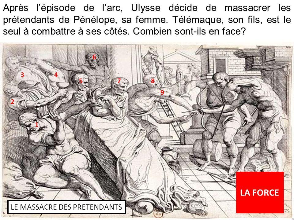 Après l'épisode de l'arc, Ulysse décide de massacrer les prétendants de Pénélope, sa femme. Télémaque, son fils, est le seul à combattre à ses côtés. Combien sont-ils en face