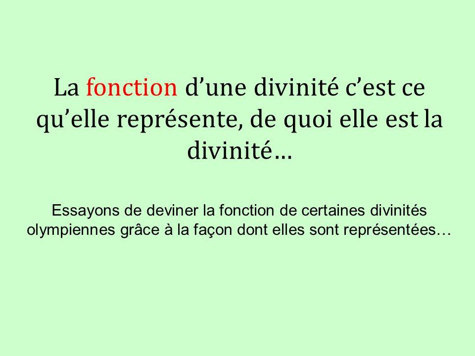 La fonction d'une divinité c'est ce qu'elle représente, de quoi elle est la divinité…