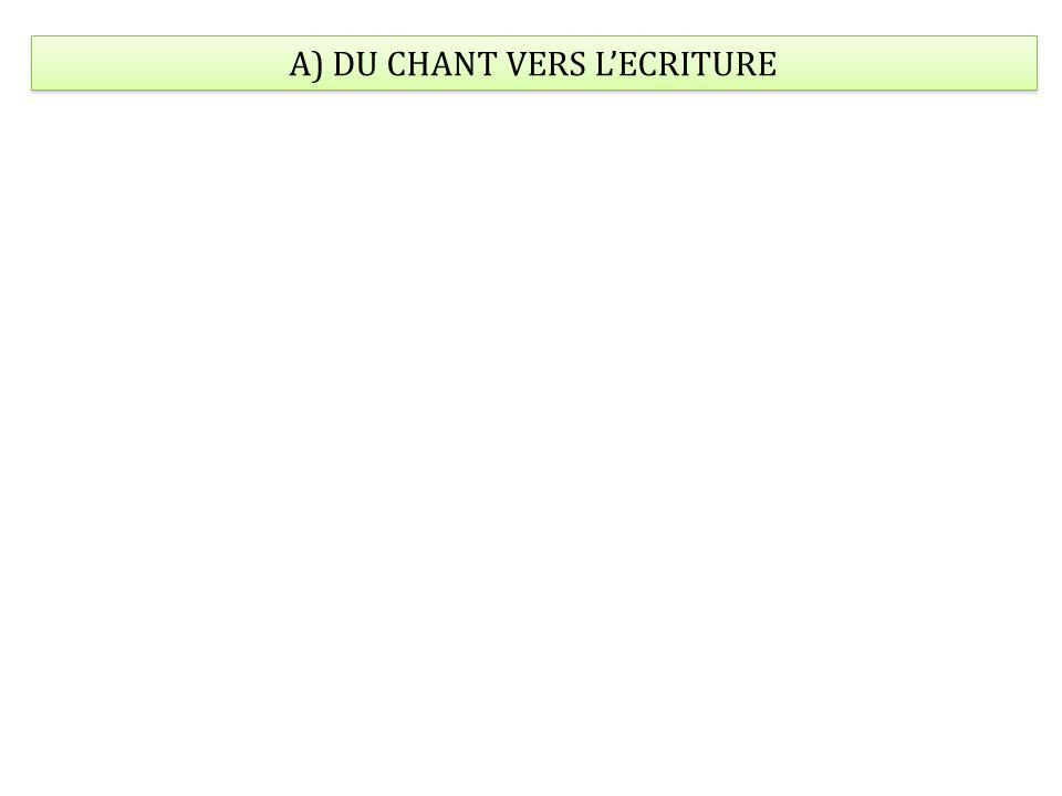 A) DU CHANT VERS L'ECRITURE