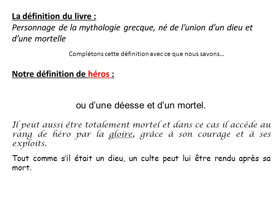 definition de mythe et hero