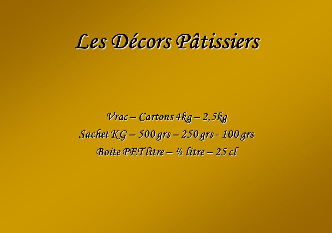 Les Décors Pâtissiers Vrac – Cartons 4kg – 2,5kg