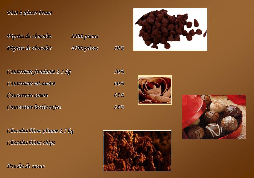 Pâte à glacer brune Pépites de chocolat 2200 pièces. Pépites de chocolat 4500 pièces 50% Couverture fondante 2,5 kg 50%