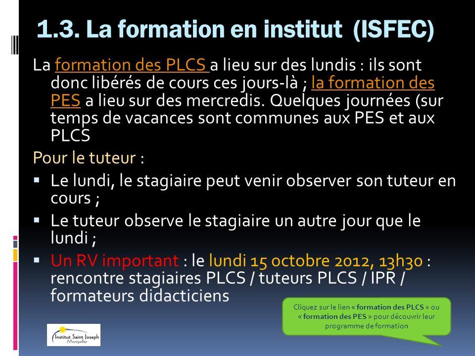 1.3. La formation en institut (ISFEC)
