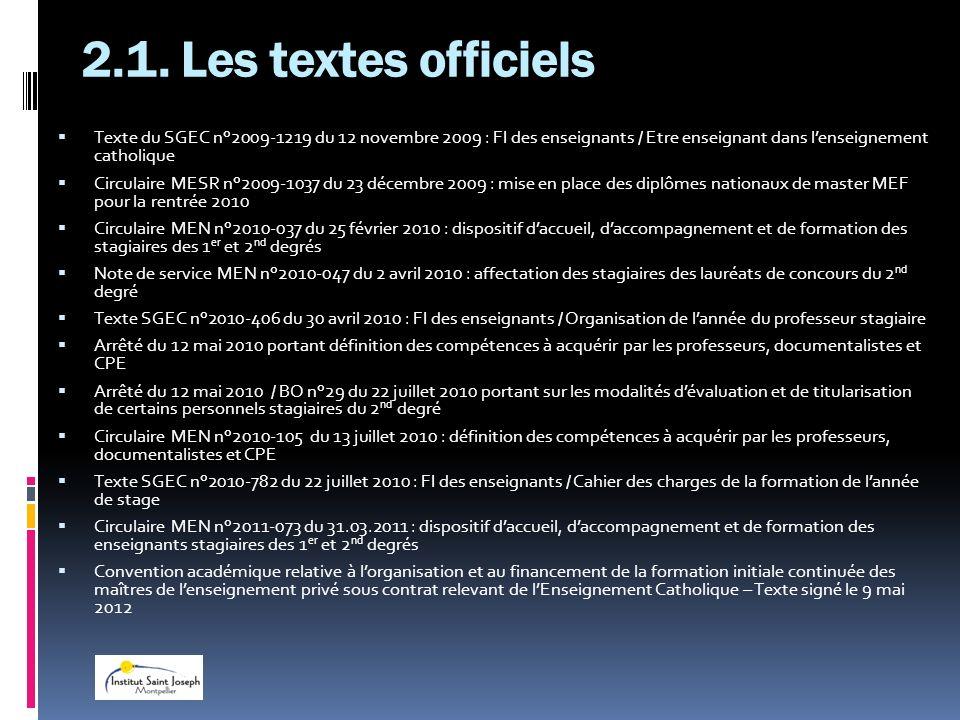 2.1. Les textes officielsTexte du SGEC n°2009-1219 du 12 novembre 2009 : FI des enseignants / Etre enseignant dans l'enseignement catholique.