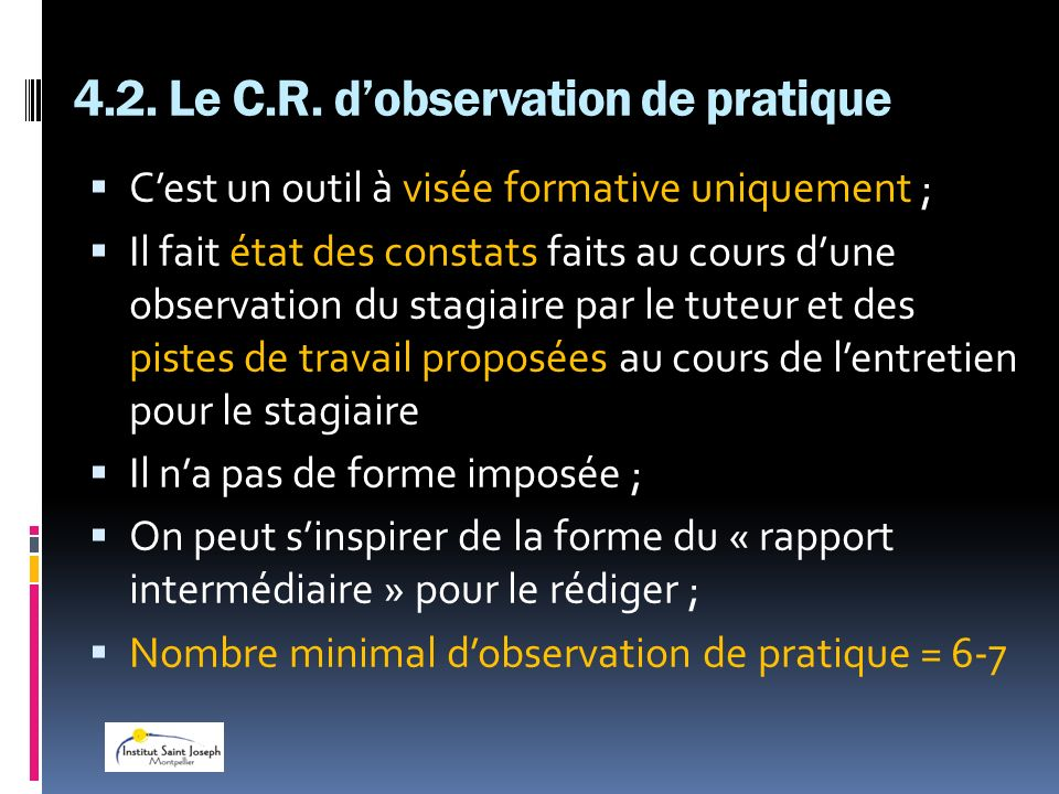 4.2. Le C.R. d'observation de pratique