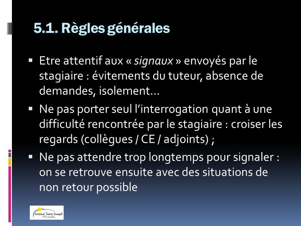 5.1. Règles généralesEtre attentif aux « signaux » envoyés par le stagiaire : évitements du tuteur, absence de demandes, isolement…