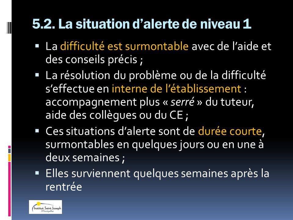 5.2. La situation d'alerte de niveau 1