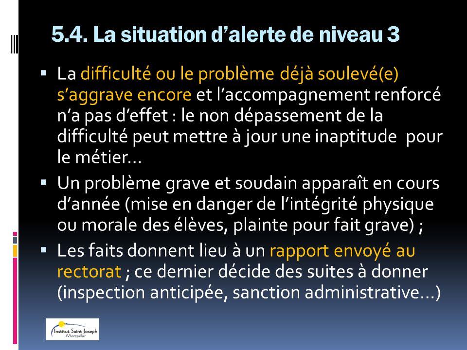5.4. La situation d'alerte de niveau 3