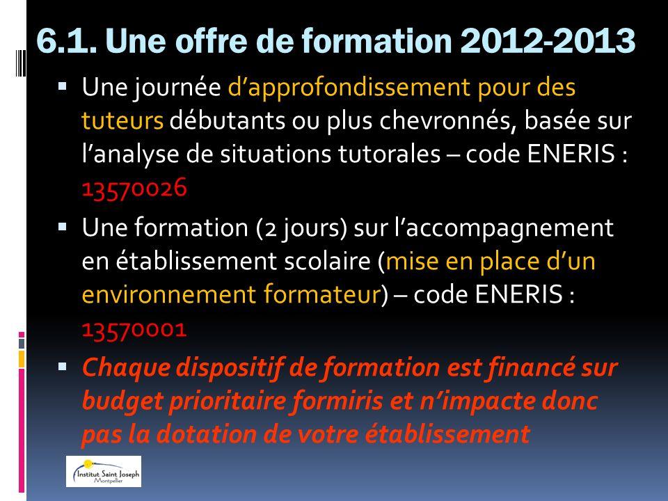 6.1. Une offre de formation 2012-2013