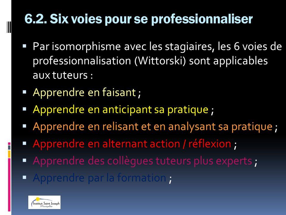 6.2. Six voies pour se professionnaliser