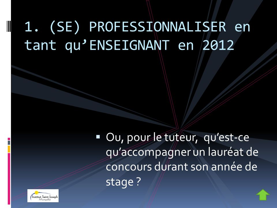 1. (SE) PROFESSIONNALISER en tant qu'ENSEIGNANT en 2012