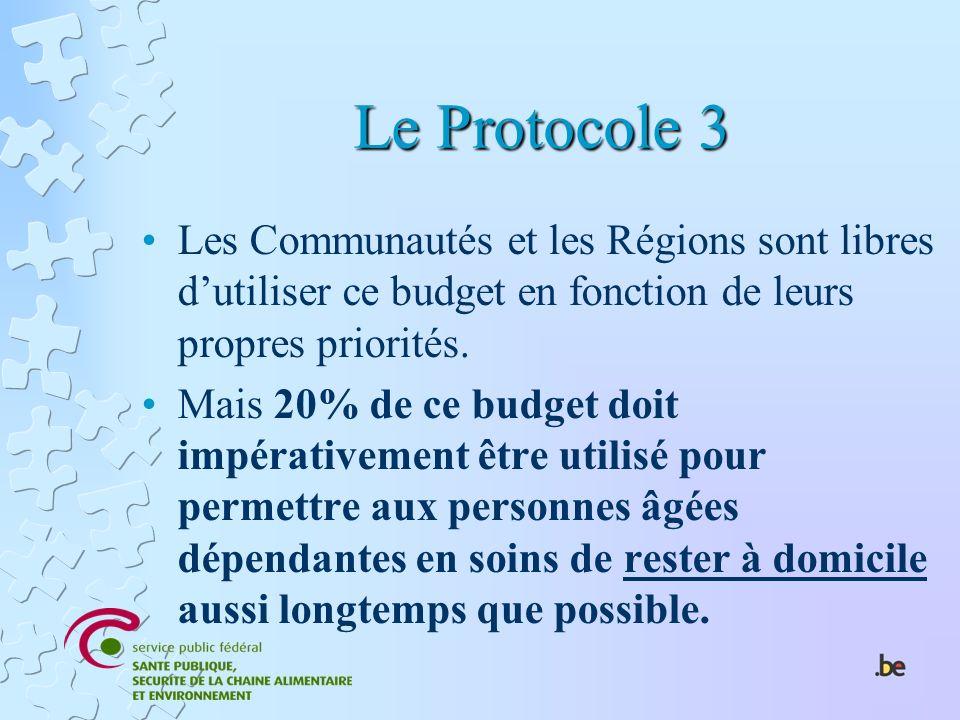 Le Protocole 3 Les Communautés et les Régions sont libres d'utiliser ce budget en fonction de leurs propres priorités.