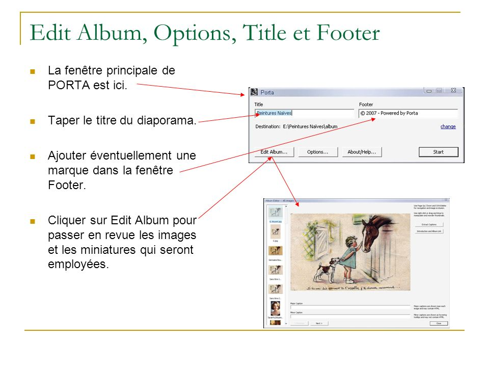 Edit Album, Options, Title et Footer