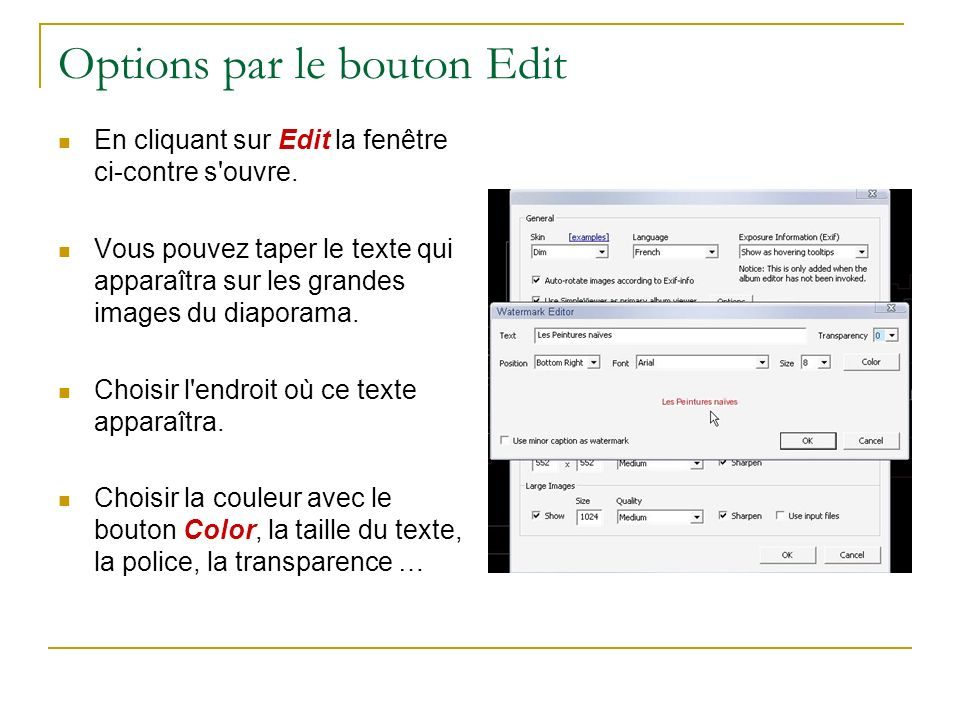 Options par le bouton Edit
