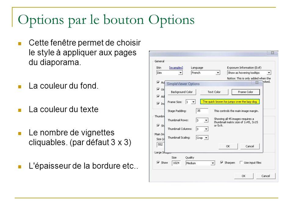 Options par le bouton Options