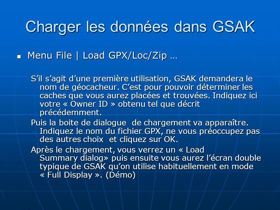 Charger les données dans GSAK