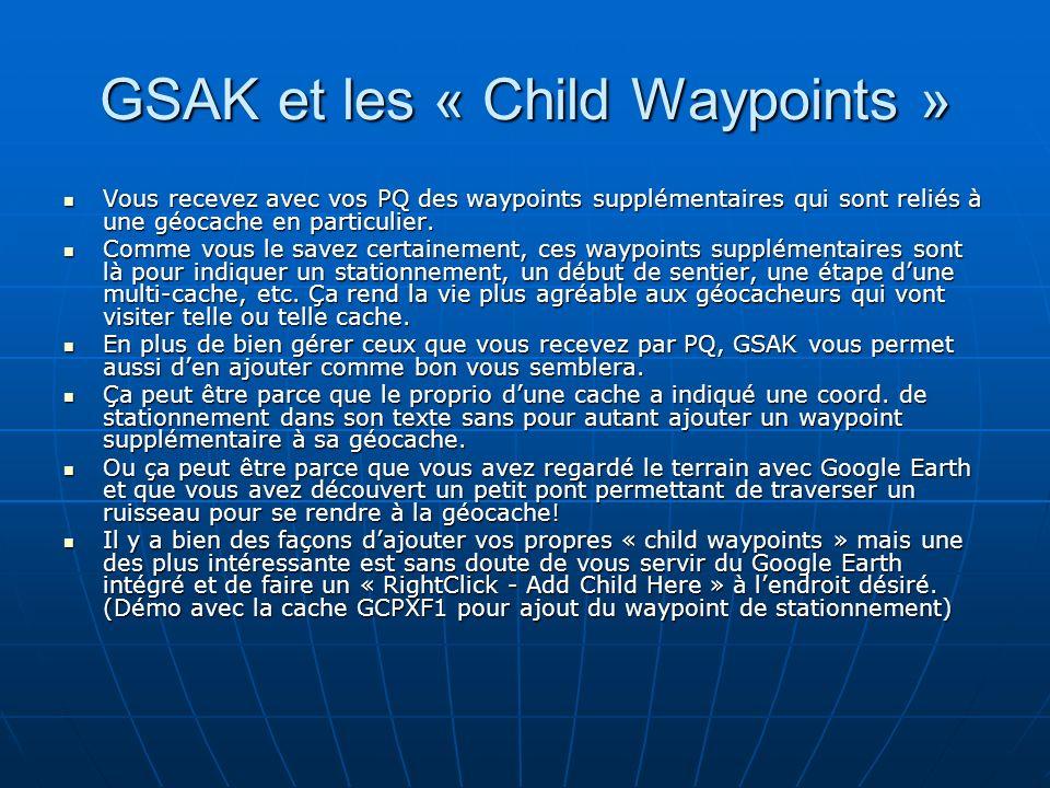 GSAK et les « Child Waypoints »