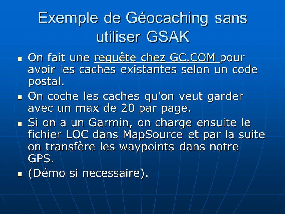 Exemple de Géocaching sans utiliser GSAK