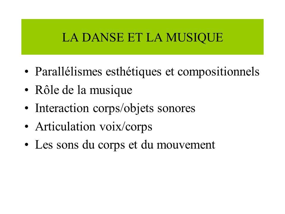 LA DANSE ET LA MUSIQUE Parallélismes esthétiques et compositionnels. Rôle de la musique. Interaction corps/objets sonores.